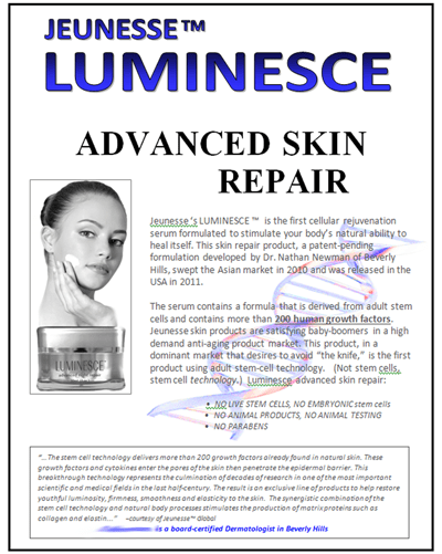 Flyer 8x11 for Luminesce skin care distributor